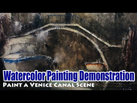 Watercolor Landscape Painting Demo/Tutorial (32) – Paint a Venice Canal Scene / 水彩画デモ、水彩画 風景画 描き方