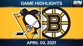 NHL Game Highlights | Penguins vs. Bruins - Apr. 03, 2021