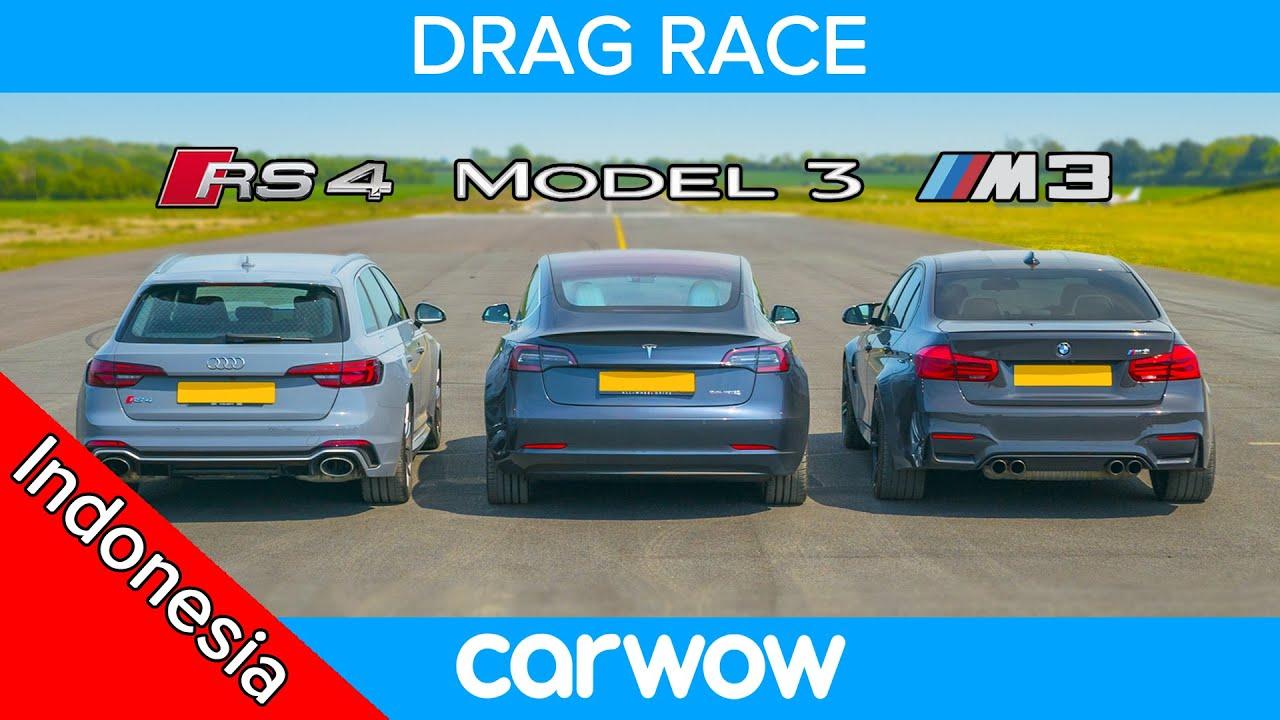 Tesla Model 3 P vs BMW M3 vs Audi RS4 - DRAG RACE, ROLLING RACE & TES PENGEREMAN
