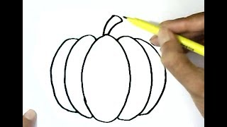 How to draw a pumpkin step by step for children, kids, beginners