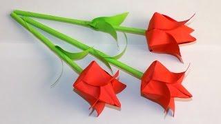 цветы из бумаги как сделать тюльпан из бумаги своими руками Paper flowers(Делаем тюльпан из бумаги. Что бы изготовить цветы из бумаги, нам понадобиться лист красной и зеленой бумаги..., 2016-11-25T07:22:19.000Z)