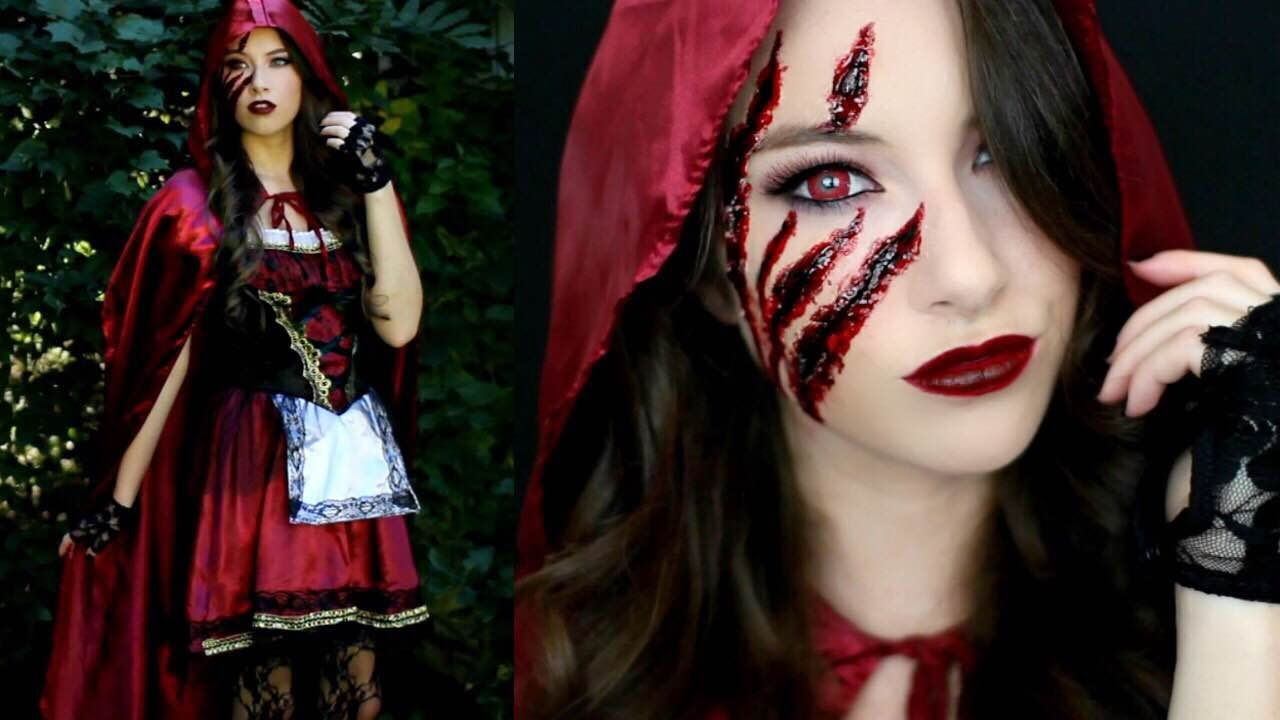 Little Red Riding Hood Halloween Makeup Tutorial & Costume! - YouTube