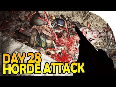 DAY 28 HORDE ATTACK - AUTO TURRET Doing WORK! - 7 Days to Die Alpha 16 Gameplay Part 41