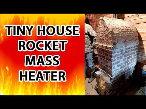 "Tiny House Rocket Mass Heater - the Cyclone by Kirk ""Donkey"" Mobert has no barrel!"