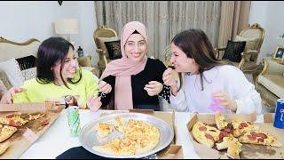 تحدي البيتزا مع اخواتي |😱 الفائز له هدية