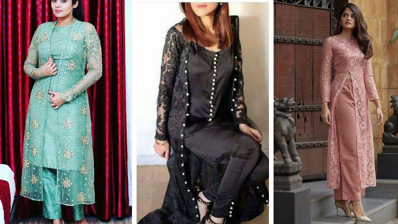 Stylish Net Kurtis design ideas 2019 || Partywear Net fabric kurti & shrugs  designs