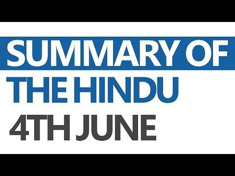 (Hindi) The Hindu - Daily News Analysis for 4th June 2017