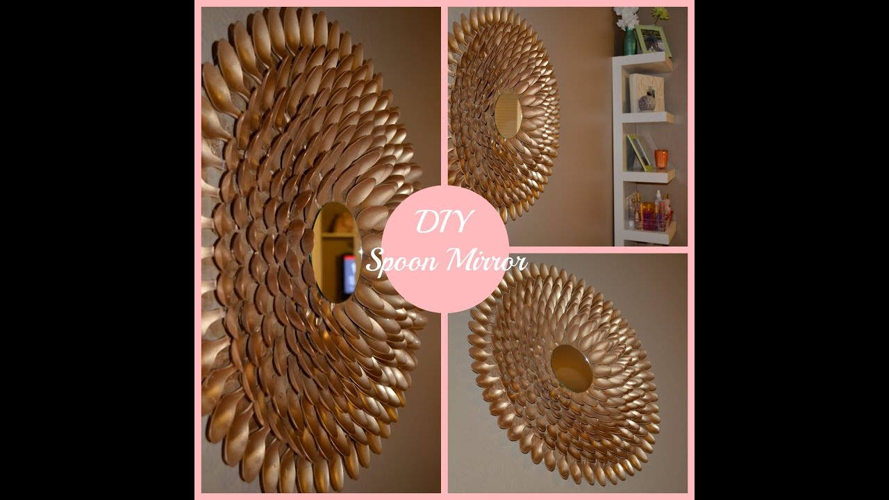 Diy spoon mirror wall decor youtube for Decoration items made at home