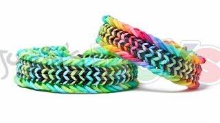 Repeat youtube video Fishtail Sandwich Rainbow Loom Bracelet Tutorial - Advanced