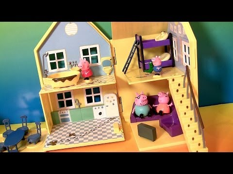 Thumbnail: Peppa Pig House Deluxe Playhouse Playset Muddy Puddle Daddy Mummy Pig Nickelodeon La Casa de Peppa