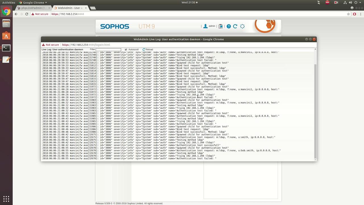 Quick Open Ldap setup with Sophos Client portal