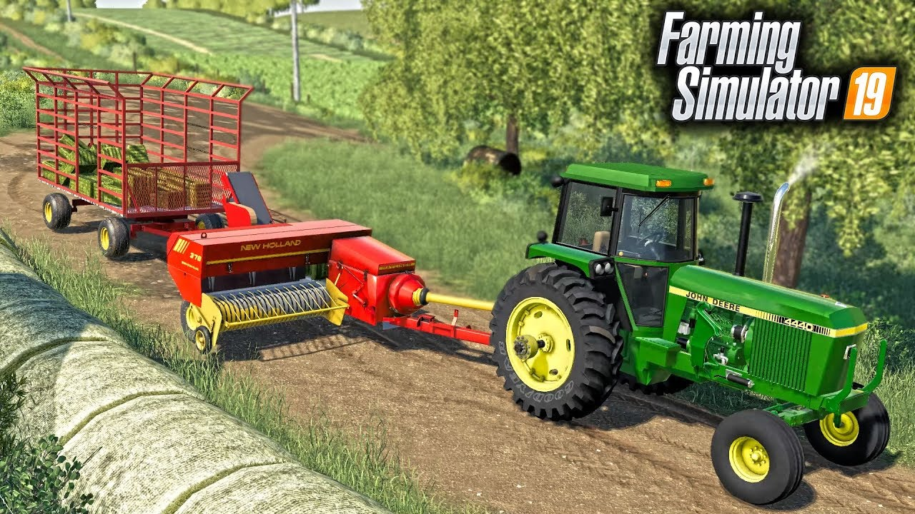 FS19- NEW SQUARE BALER & HAY WAGON! MAKING TINY 60LB BALES FOR THE COWS