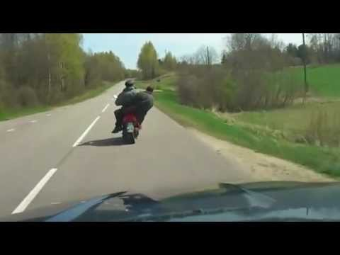 FAIL: Drunk guys drives scooter and crash #Latvia
