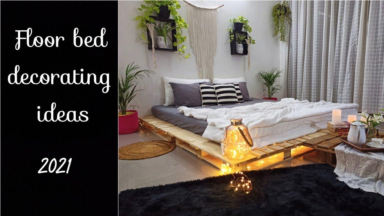Floor Bed Decorating Ideas 2021 Diy Pallet Bed At Home Diy Pallet Bed India Floor Bed Ideas Youtube