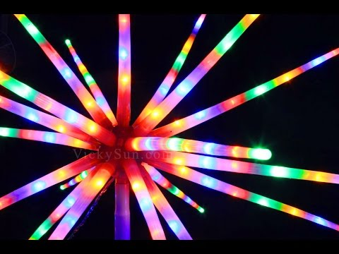 Led Starburst Lights With Base Multi Colours Christmas