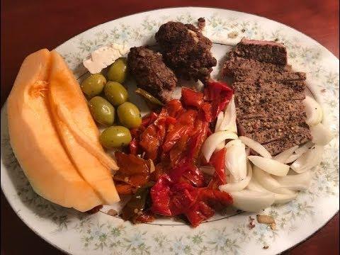 Post Workout BBQ T-Bone Steak, Roasted Peppers, Onions, Feta Cheese, Hamburger, Melon
