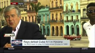 ESPN report in Cuba with Bob Ley interrupted by a political demonstration