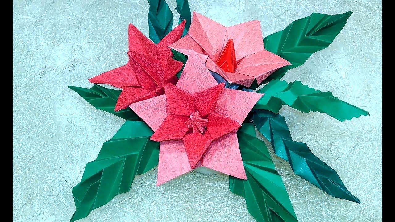 Origami Christmas table decorations. Easy Poinsettia Decor DIY .