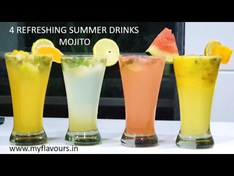 4 Refreshing Summer Drinks/Fruit Juice Lemonade Recipes/Fruit Juice Mojito/Summer Drink/MyFlavours