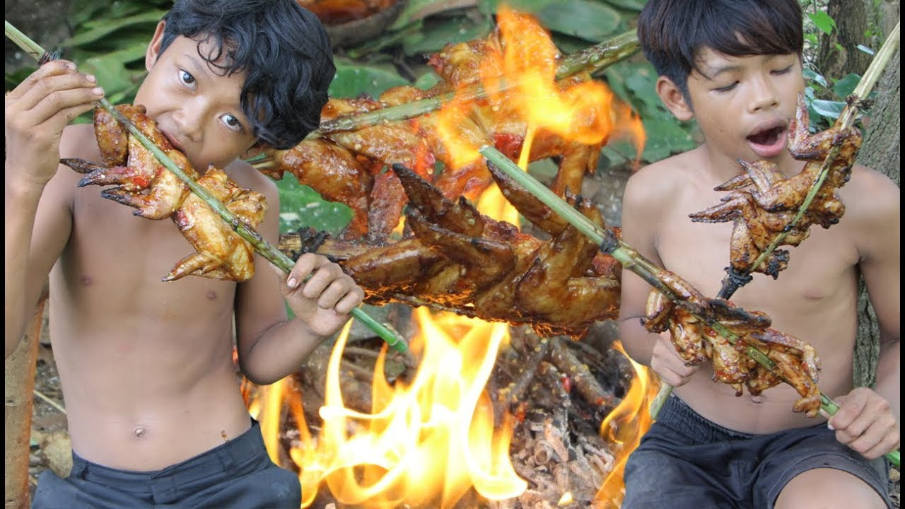 Primitive Technology - Awesome Cooking Chicken Wing - Eating Delicious