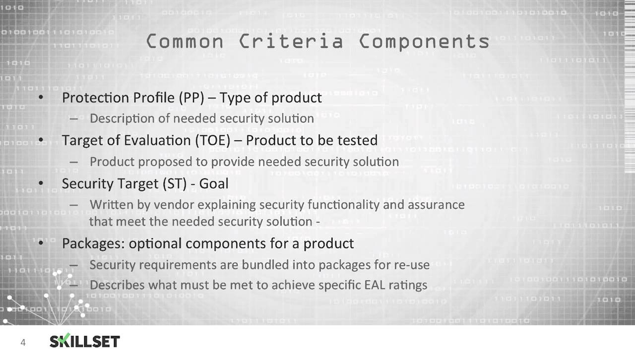 Common sets of evaluation criteria