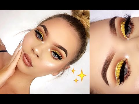 Gold Glitter Cut Crease Makeup Tutorial!
