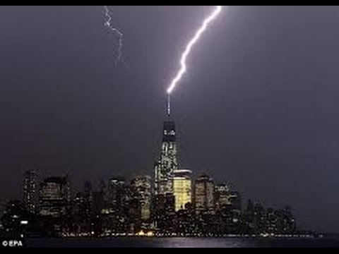 Lightning Striking the Freedom Tower NYC - View from Brooklyn Heights NY