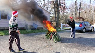 Psycho Kid Torches Christmas Tree
