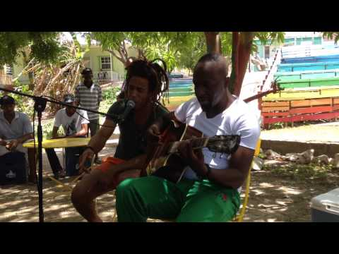 Wyclef Jean in Pietermaai. Playing in the park with locals! Curacao during CNSJ. 5 september 2015.