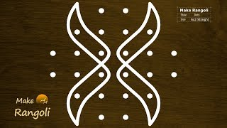 Simple Sikku Kolam with 6x2 dots | Melika Muggu with 6 dots | Make Rangoli