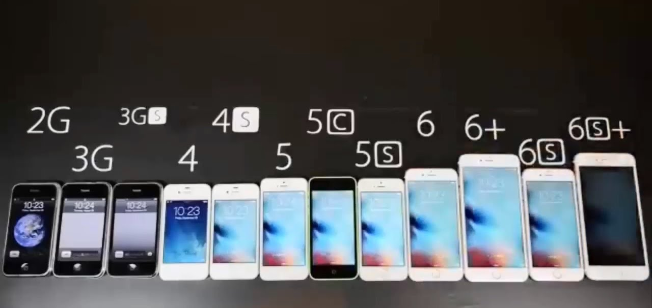 IPhone Evolution 2G 3G 3GS 4 4S 5 5C 5S 6 6plus 6S 6Splus