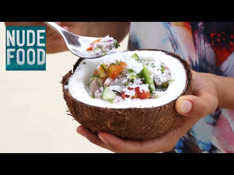 Making delicious 'Ika Mata' (marinated raw fish) in the beautiful Cook Islands - paradise in a bowl!