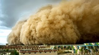 Terrible sandstorm hit Northwest China covering day as night Sandsturm