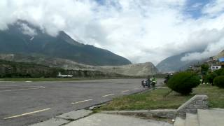 Flight back to Pokhara Nepal lands after couple of days waiting in Jomsom village up in 2800 metres.