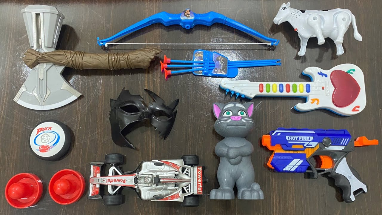My Latest Cheapest toy Collection, Talking Tom, F1 Racing Car, Cow, Axe, Krish Mask, Guitar, Gun toy