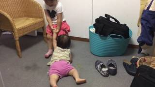 """Sister's """"Gimme chocolate!!"""" by Japanese three years old and 1 year old."""