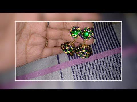 how to make multicolor silk thread jhumka