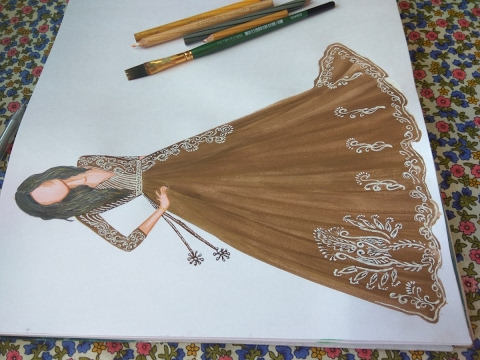 Party wear dress sketch #5 - YouTube