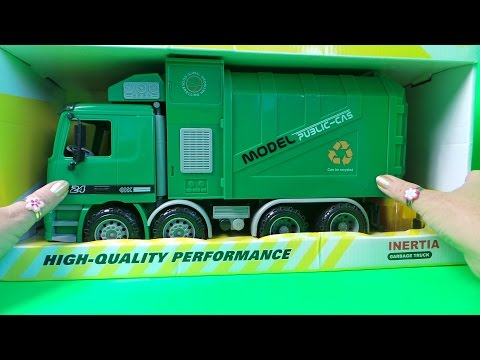 LATEST INERTIA FRICTION MOTOR DRIVE RECYCLING GARBAGE TRUCK TOY UNBOXING