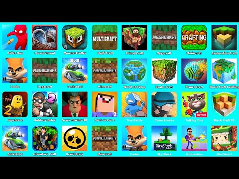 Minecraft,Exploration Craft,Miniworld,Megacraft,Primal Craft,World Of Cubes,Realm Craft,Planet Craft