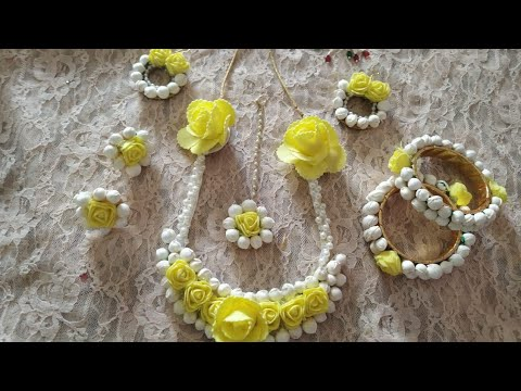 D.i.y how to make handmade flower jewelry for haldi 2019