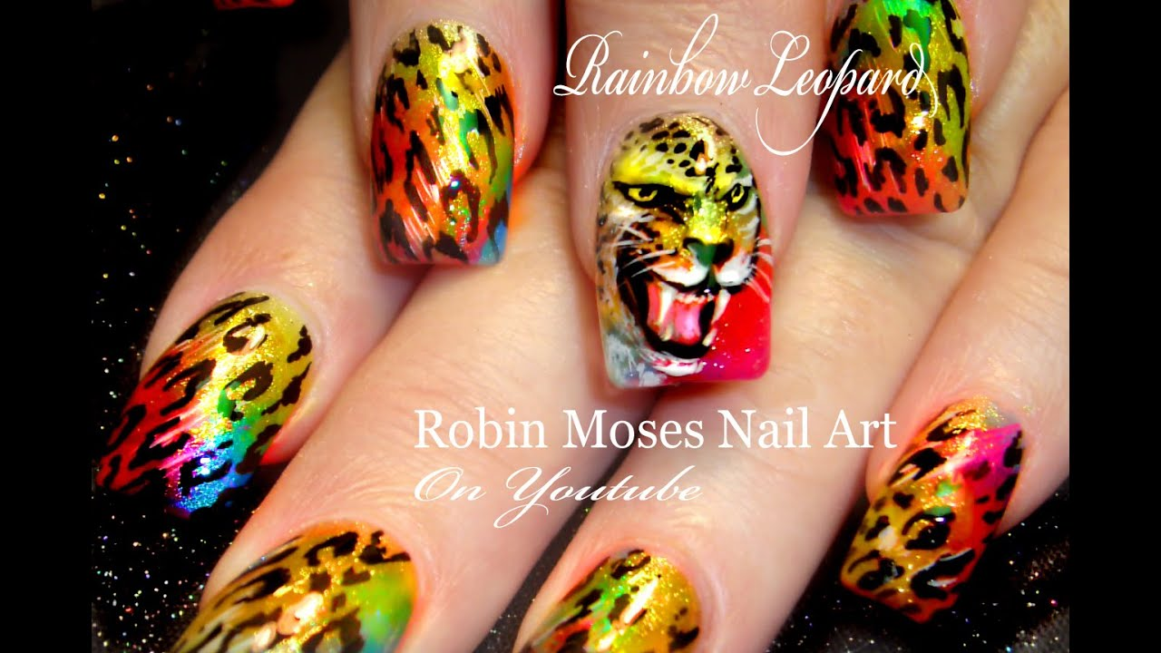 Rainbow Leopard Face Nails Fierce Animal Print Nails Design