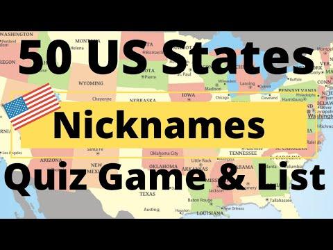 50 US States Nicknames Quiz Game & List