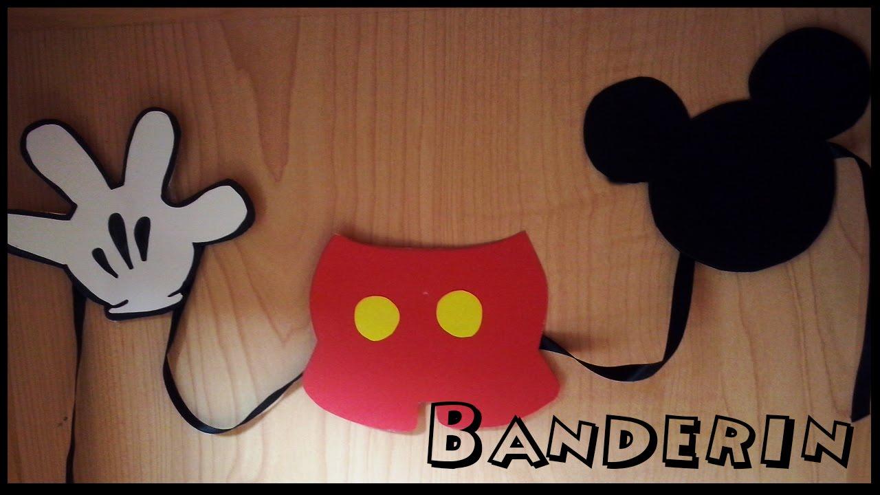 DIY Como Hacer Banderines De Mickey Mouse Para Fiestas