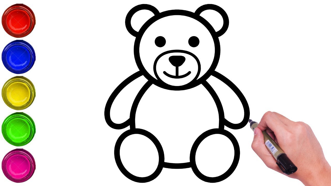 How To Draw A Teddy Bear Step By Step Easy Easy Drawing Of Drum Draw Teddy Bear And Drum Youtube