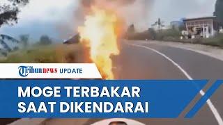 Detik-detik Moge Terbakar saat Dikendarai di Jalur Wisata Bromo, Api Membesar seusai Mesin Mati