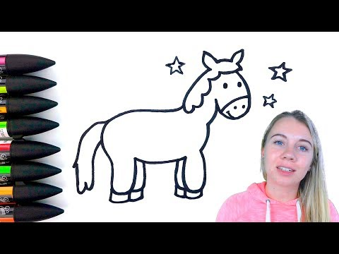 Horse Drawing and Coloring For Kids - Coloring Pages For Children