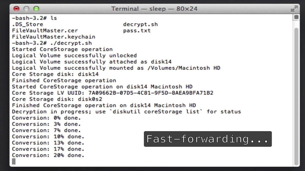 Decrypt File Vault with master keychain