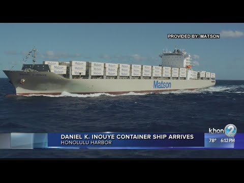 Largest container ship built in US arrives in Hawaii