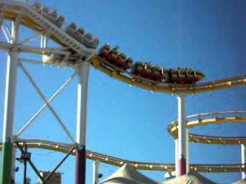 Santa Monica Roller Coaster (side view) - YouTube